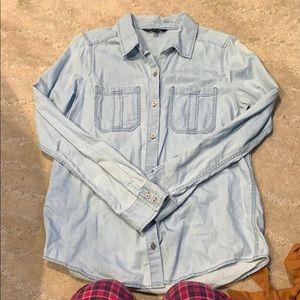 Tops - Light wash denim button down shirt